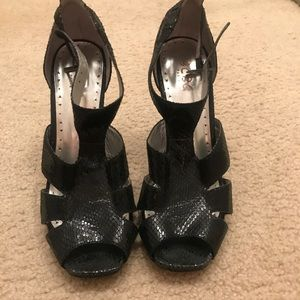 BCBG Shoes - BCBG patent black strappy heels 8.5 women's